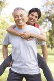 Ältere Paare, die im Park ausarbeiten Stockfoto