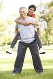 Ältere Paare, die im Park ausarbeiten Stockbild