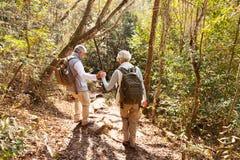 Ältere Paare, die Reise wandern lizenzfreie stockfotografie