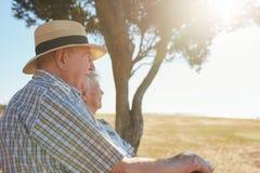 Ältere Paare, die sich draußen an einem Sommertag entspannen stockbild