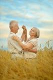 Ältere Paare, die am Sommerfeld stillstehen lizenzfreie stockfotografie