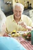 Ältere Paare, die zusammen Mahlzeit in der Küche essen stockbild
