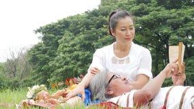 Ältere Paare, Ehemann und Frau, die Picknick im Park liegt beim glücklichen Gefühl tut stock video footage