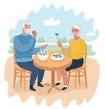Ältere Paare an einem Caféessen stock abbildung