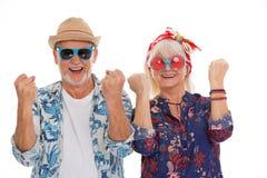 Ältere Paare gekleidet wie eine Hippie stockbild