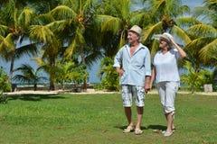 Ältere Paare am Hotelerholungsort Lizenzfreies Stockbild