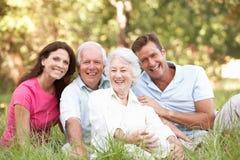 Ältere Paare mit aufgewachsenen Kindern im Park Lizenzfreies Stockfoto