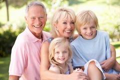 Ältere Paare mit den Kindern, die im Park aufwerfen Lizenzfreie Stockfotos