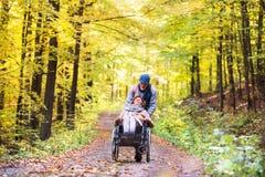Ältere Paare mit Rollstuhl im Herbstwald lizenzfreie stockfotos