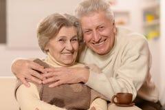 Ältere Paare mit Tasse Tee Lizenzfreies Stockbild
