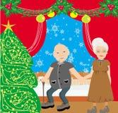 Ältere Paare, welche zu Hause die Feiertage verbringen lizenzfreie abbildung