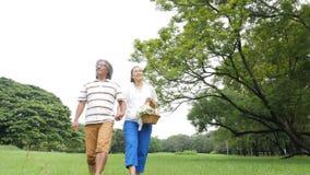 Ältere Paarleute, die im Frühjahr Tag in der Natur genießen und auf Picknick mit glücklichem Gefühl gehen stock video footage