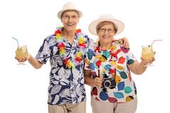 Ältere Touristen mit Cocktails Stockfotos