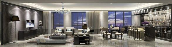 Ältere Wohnung Shanghais in der Wohnzimmer- und Stangenkombination von Luxus lizenzfreie stockfotografie