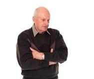 Älterer älterer Mann, der unten schaut Lizenzfreie Stockfotografie