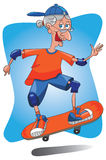 Älterer alte Dame Skateboarding. Stockbilder