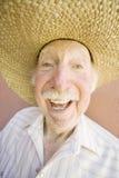 Älterer Bürger-Mann in einem Cowboyhut Stockfoto