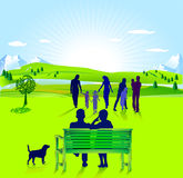 Älterer Bürger mit Familie Stockfoto