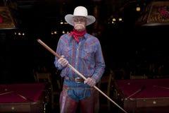 Älterer Cowboy, der in einem Pool Hall steht Stockfotos