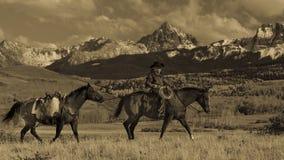 Älterer Cowboy führt Packpferd über historischer letzter Dollar-Ranch O Lizenzfreie Stockfotos