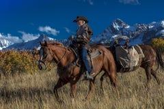 Älterer Cowboy führt Packpferd über historischer letzter Dollar-Ranch O Stockfotografie