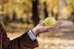 Älterer Erwachsener, der grünen Apfel hält Stockfotografie