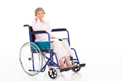 Älterer Frauenrollstuhl Stockfoto