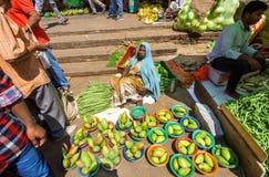Älterer Frauenverkäufer, der grüne Avocado und andere Früchte vom Boden verkauft Stockfotos