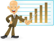 Älterer Geschäftsmann, der Balkendiagramm darstellt Stockfoto