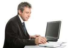 Älterer Geschäftsmann, der an Laptop arbeitet Stockfotos