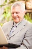 Älterer Geschäftsmann, der zu Hause arbeitet Lizenzfreie Stockbilder
