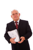 Älterer Geschäftsmannaufruf Stockbild