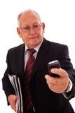 Älterer Geschäftsmannaufruf Stockfotos