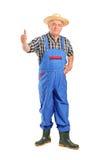 Älterer lächelnder Landwirt, der einen Daumen aufgibt Stockbilder