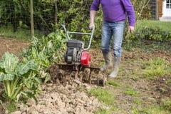 Älterer Landwirtgärtner, der im Garten mit rototiller, Pflügertraktor, cutivator, miiling Maschine arbeitet Lizenzfreie Stockfotos