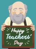Älterer Lehrer Holding Little Chalkboard und Feiern seines Tages, Vektor-Illustration Stockfoto