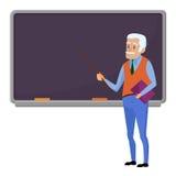 Älterer Lehrerprofessor, der in der Schule nahe Tafel im Klassenzimmer, im College oder in der Universität steht Flache Designkar Lizenzfreie Stockbilder