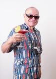 Älterer Mann auf Ferien stockbild