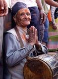 Älterer Mann in Bisket Jatra Stockbild