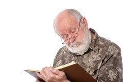Älterer Mann Cheerfull lokalisiert auf Weiß Stockfoto