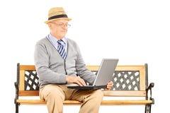 Älterer Mann, der auf einer Holzbank sitzt und an einem Laptop arbeitet Stockfotografie
