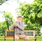 Älterer Mann, der auf einer Holzbank sitzt und Kamera, in a betrachtet Stockbilder