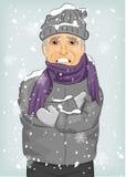 Älterer Mann, der in der Winterkälte trägt woolen Hut und Jacke mit Schal einfriert lizenzfreie abbildung