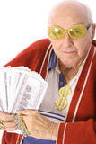 Älterer Mann, der die Lotterie gewinnt stockfotos