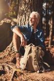 Älterer Mann, der durch einen Baum sitzt und weg schaut Lizenzfreies Stockfoto