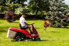 Älterer Mann, der einen roten Rasenmäher fährt Stockfotos