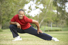 Älterer Mann, der im Park trainiert stockfotografie