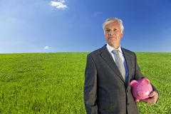 Älterer Mann, der an Investition denkt Lizenzfreies Stockbild