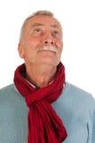 Älterer Mann, der oben schaut Lizenzfreie Stockfotografie