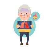Älterer Mann, der Pneumonie hat Stockfoto